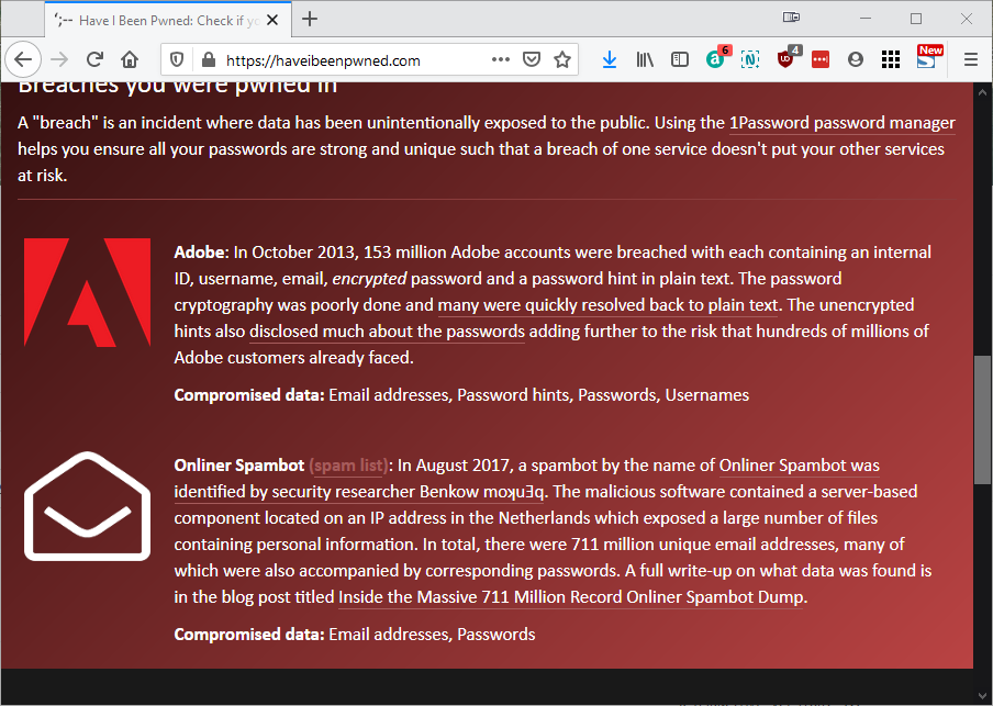 "Picture showing the ""Have I been Pwned?"" website showing the detail of breaches an email address was involved in."