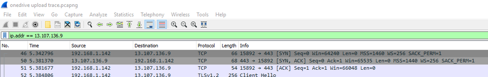 Wireshark Trace of Onedrive Upload - First Few Packets