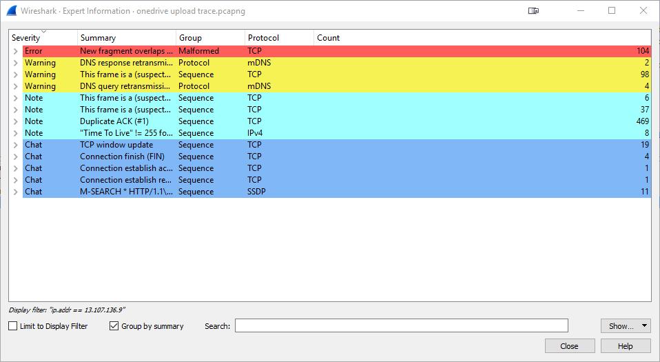 Wireshark Trace of Onedrive Upload - Expert Information