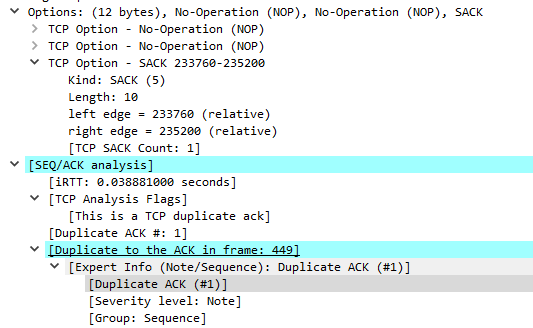 Wireshark Trace of Onedrive Upload - A Duplicate ACK for Packet 449
