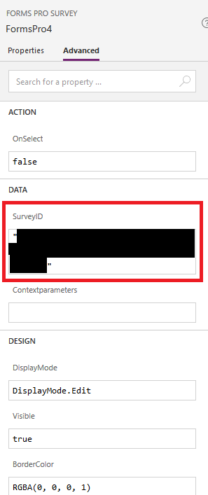 Configuring the survey ID for a Forms Pro form.