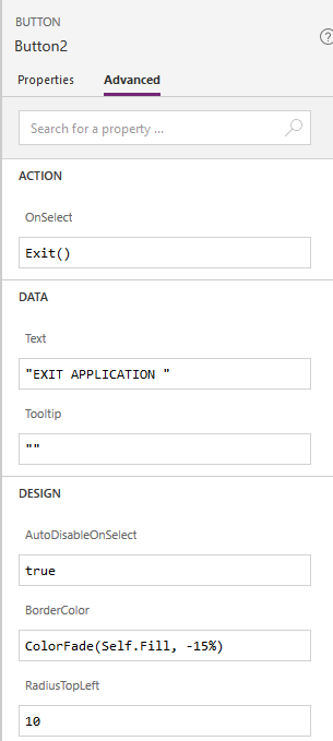Creating a button to exit the PowerApps app.