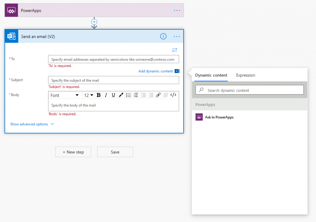 Power Automate - Configuring the details of the email