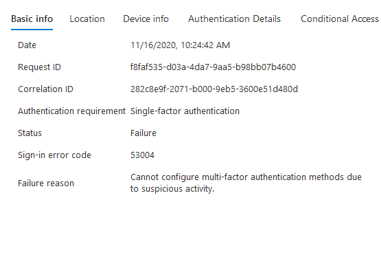 Azure AD sign-in log