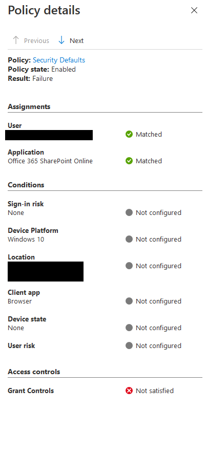 Azure AD sign in log policy defaults