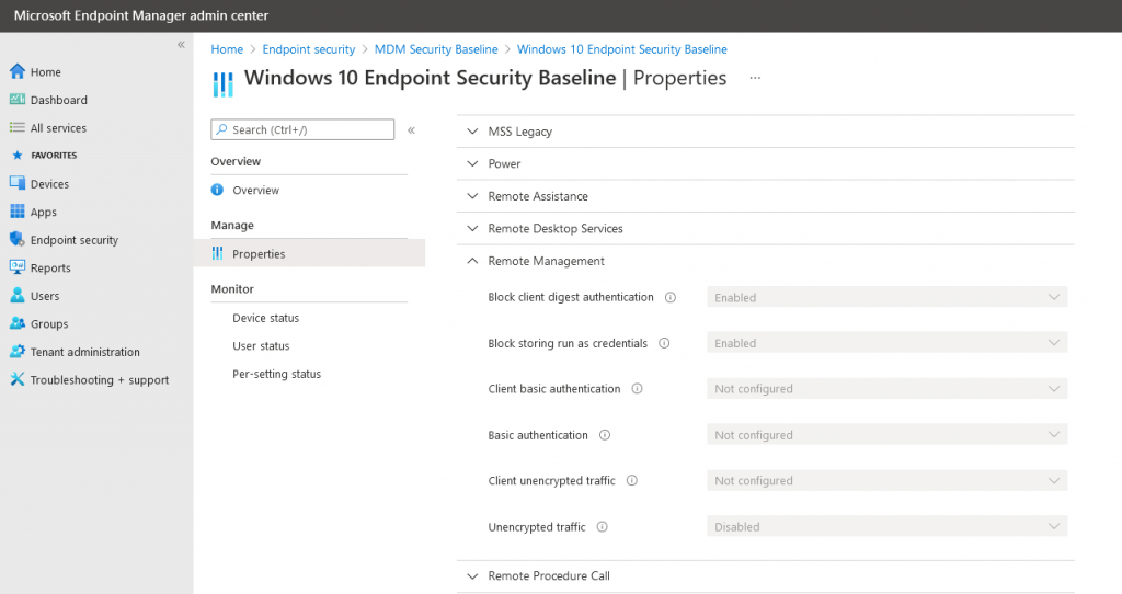 Check your Microsoft Endpoint Manager Security Baseline